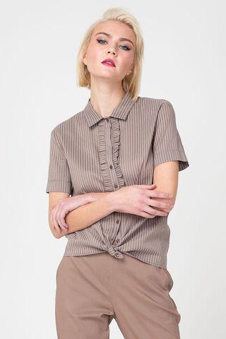 Фото бежевая блуза в полоску с коротким рукавом - Блуза Г665-302 (1)