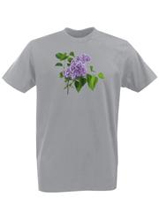 Футболка с принтом Цветы (Сирень) серая 002