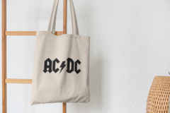 Сумка-шоппер с принтом AC DC (Рок) бежевая 003