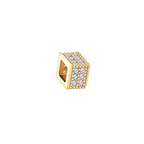 5889- Квадратное колесико подвеска  из золота 585 пробы с фианитами
