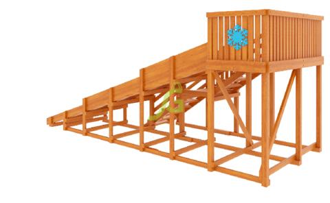 Детская деревянная зимняя горка