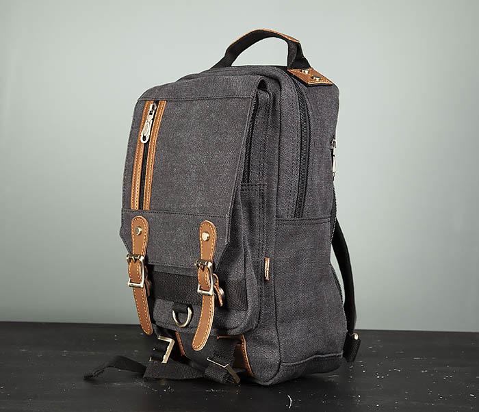 BAG394-1 Черный компактный рюкзак с одной лямкой через плечо фото 05
