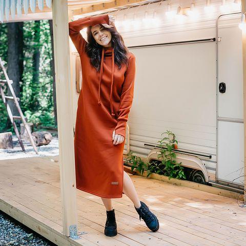 Warm hooded maxi dress for women - Terracotta