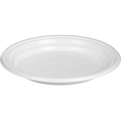 Тарелка одноразовая пластиковая белая 170 мм 24 штуки в упаковке