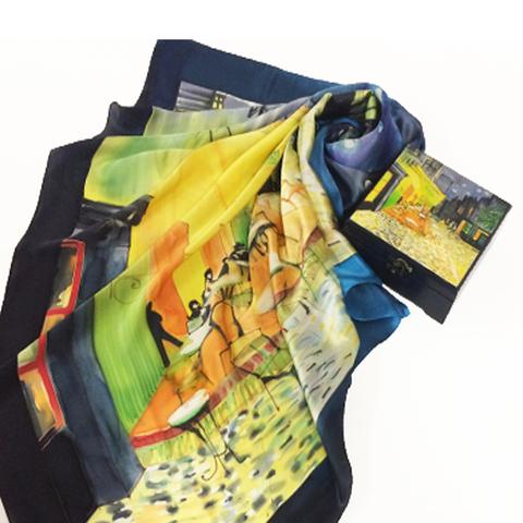 Комплект шкатулка и платок батик Кафе Ван Гог
