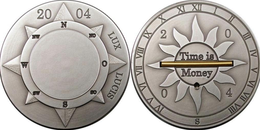 Набор из 2 монет 10 долларов 10 Франков Либерия. Компас. Время - деньги. 2004 г. Серебро