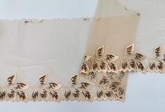 Вышивка на сетке, ЛЕВАЯ, 21 см, бежевая/шоколад , (Артикул: VS-1010), м