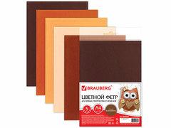 660646 Цветной фетр для  творчества А4 210*297 5л., 5цв., оттенки коричневого.