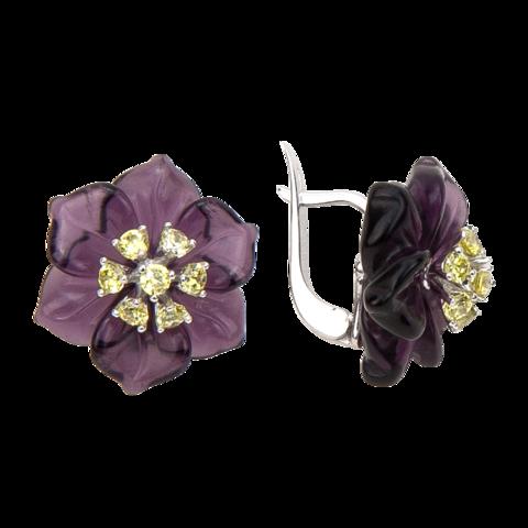 Серьги с цветами из фиолетового кварца и фианитами
