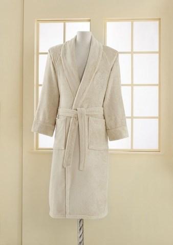 Махровый мужской банный халат DELUXE светло-бежевый