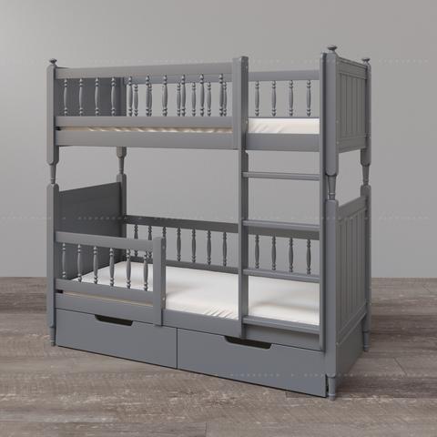 Высокая двухъярусная кровать с ящиками и ограждающими бортиками на нижнем ярусе (опции)