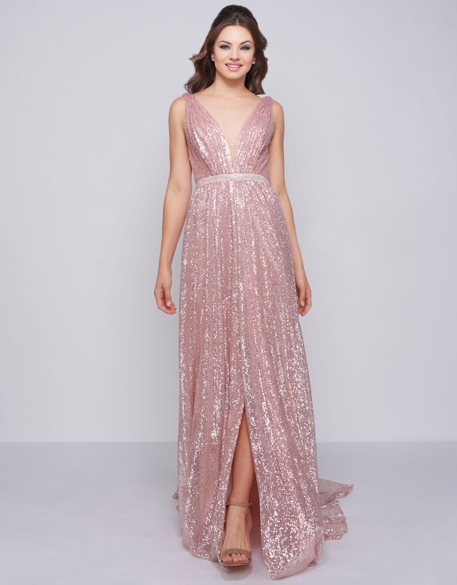 Нежное мерцающее платье в цвете Crystal Blush Mac Duggal 7706