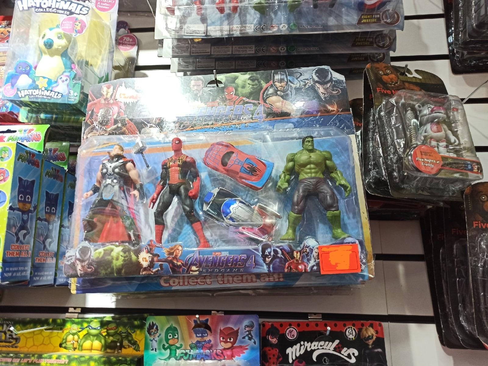 Набор героев Халк, Тор, Человек паук 15 см и 2 машинки