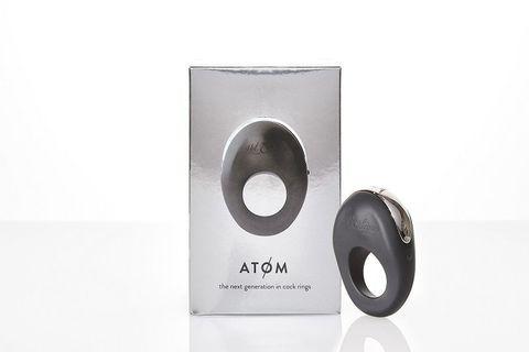 Черное эрекционное виброкольцо ATOM