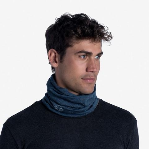 Шерстяной шарф-труба Buff Wool midweight Dusty Blue Melange фото 2