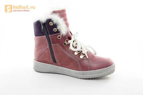 Зимние ботинки для девочек из натуральной кожи на меху Лель на молнии и шнурках, цвет ириc. Изображение 2 из 13.
