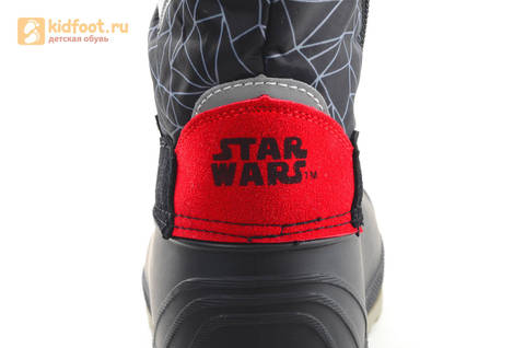 Зимние сапоги для мальчиков непромокаемые с резиновой галошей Звездные войны (Star Wars), цвет черный, Water Resistant. Изображение 12 из 16.
