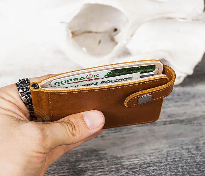 WB115-4 Кожаный зажим для денег ручной работы с застежкой фото 10