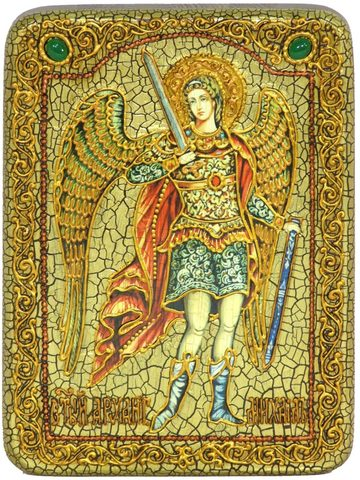 Инкрустированная икона Архангел Михаил 20х15см на натуральном дереве в подарочной коробке
