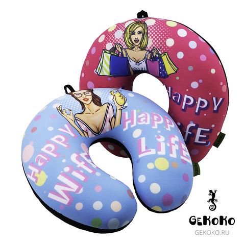 Подушка-подголовник Gekoko «Happy Wife», голубая 3