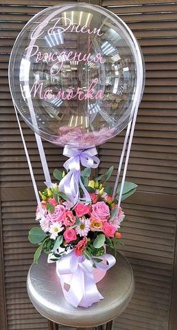Цветы в коробочке и шар bubble #26565