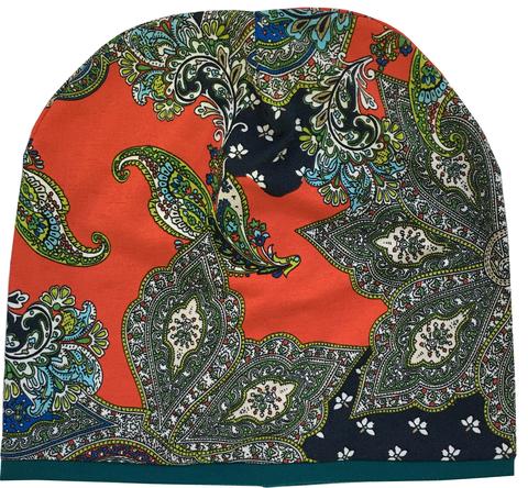 Женская шапочка бини с принтом Огурцы (Пейсли)
