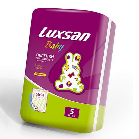 Luxsan Baby. Пеленки впитывающие с рисунком 60х90 см, 1уп/5 шт