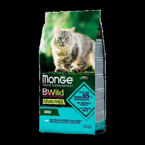 Monge Cat BWild Grain Free Сухой корм для взрослых кошек из трески, беззерновой
