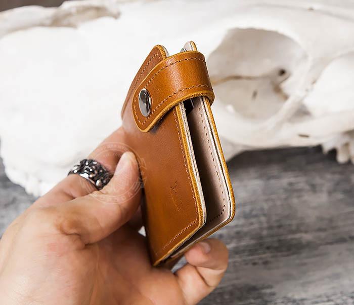 WB115-4 Кожаный зажим для денег ручной работы с застежкой фото 11