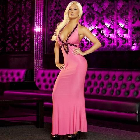 Вечернее розовое платье в пол от Hustler - Hustler Lingerie GOWN2