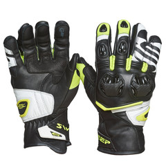 Мотоперчатки кожа Sweep Forza, чёрный/жёлтый
