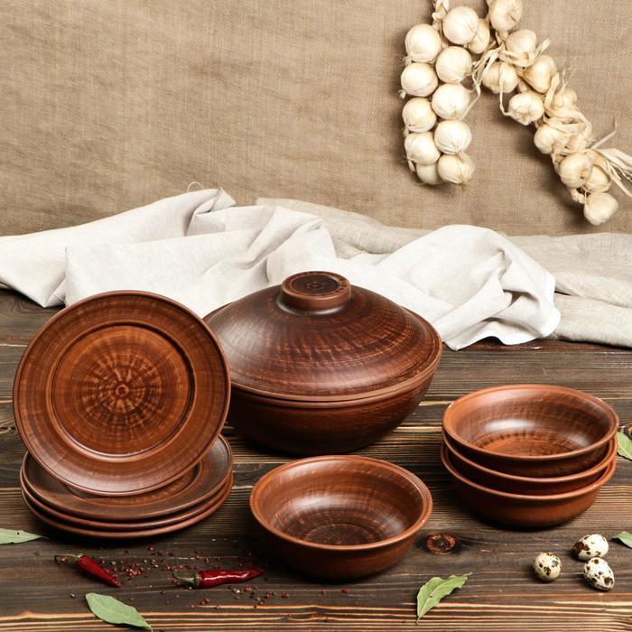 Глиняный набор посуды Набор посуды 9 предметов: сковорода, глубокие тарелки, плоские тарелки 700.jpg