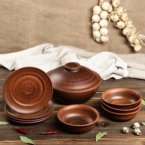 Набор посуды 9 предметов: сковорода, глубокие тарелки, плоские тарелки