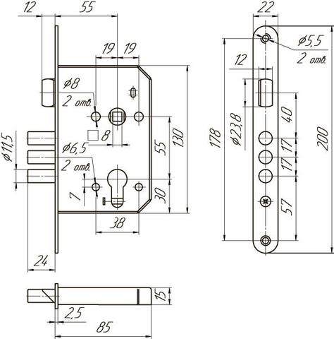 Замок врезной Меттэм ЗВ4 402.0.0  в комплекте с ручкой НР 0801,цилиндр