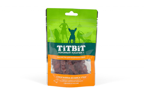 Titbit строганина из мяса утки для маленьких собак 50г
