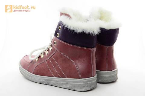 Зимние ботинки для девочек из натуральной кожи на меху Лель на молнии и шнурках, цвет ириc. Изображение 5 из 13.
