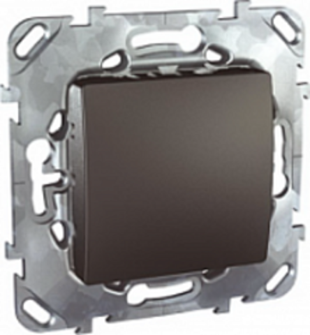 Выключатель кнопочный одноклавишный - Кнопка звонка - Выключатель без фиксации. Цвет Графит. Schneider electric Unica Top. MGU5.206.12ZD