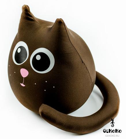 Подушка-игрушка антистресс Gekoko «Кот шоколадный большой» 4