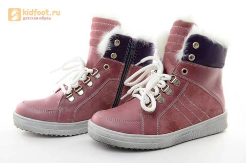 Зимние ботинки для девочек из натуральной кожи на меху Лель на молнии и шнурках, цвет ириc. Изображение 6 из 13.