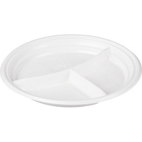 Тарелка одноразовая пластиковая белая 3-секционная 210 мм 100 штук в упаковке