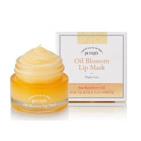 Petitfee Oil blossom lip mask ночная маска для губ с  маслом облепихи
