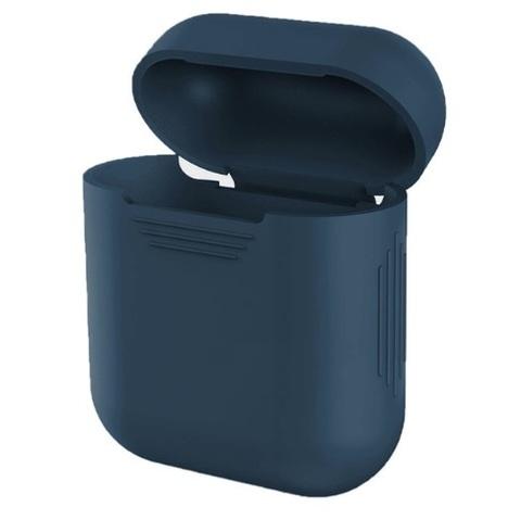 Чехол на airpods силиконовый (темно-синий)