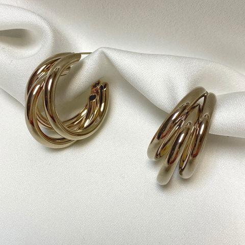 Серьги тройные кольца незамкнутые крупные брасс ш925