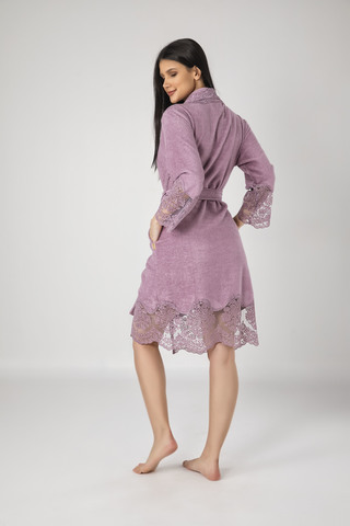Халат женский махровый с кружевом 163790 лиловый NUSA Турция