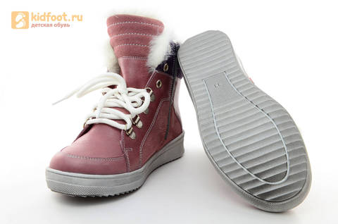 Зимние ботинки для девочек из натуральной кожи на меху Лель на молнии и шнурках, цвет ириc. Изображение 7 из 13.