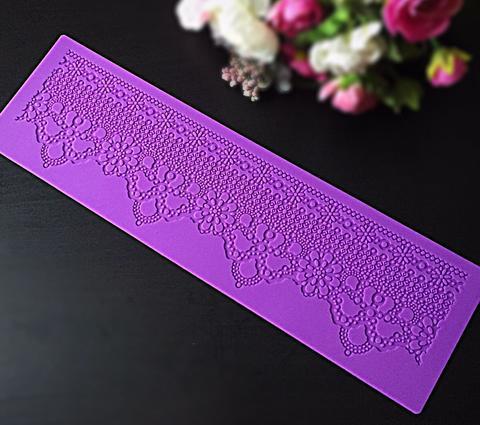 Молд силиконовый для айсинга кружево ЦВЕТЫ в мелкой сетке (Размер коврика 38*11 см.)