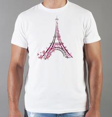 Футболка с принтом Париж, Франция, Эйфелева башня (France/ Paris) белая 006