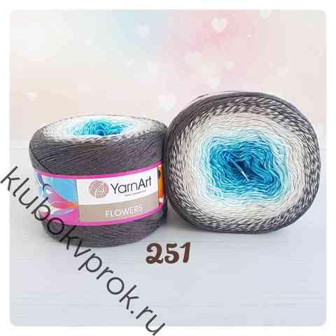 YARNART FLOWERS 251, Серый/белый/голубой