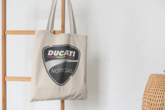 Сумка-шоппер с принтом Ducati (Дукати) бежевая 006