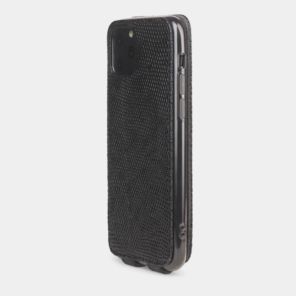 Чехол для iPhone 11 Pro Max из натуральной кожи ящерицы, черного цвета